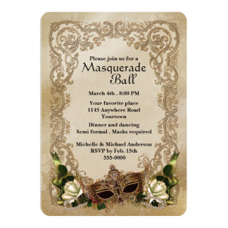 White Roses Masquerade Ball Invitation