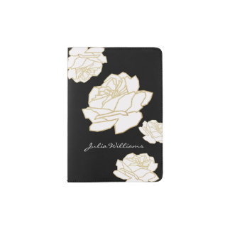 white roses / nice & delicate floral passport holder