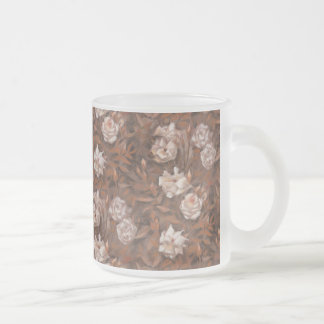 White roses, nostalgic floral pattern earth colors frosted glass coffee mug