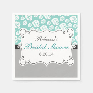 White Roses on Aqua & Gray Bridal Shower Paper Serviettes