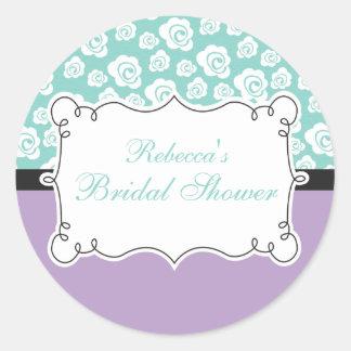 White Roses on Aqua & Purple Bridal Shower Round Sticker