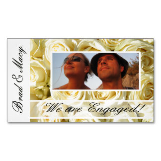 White roses photo engagement announcement magnetic business cards