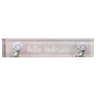White Roses Rustic Floral Elegant Shabby Chic Nameplate
