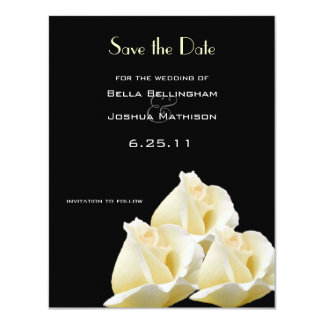 """White Roses Save the Date Announcement 4.25"""" X 5.5"""" Invitation Card"""