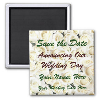 White Roses Save the Date Magnet