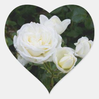 White Roses Heart Sticker