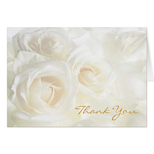 White Roses Thank You Wedding Card