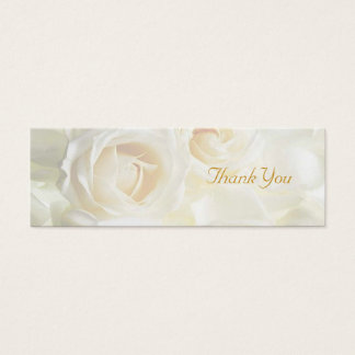 White Roses Thank You Wedding Favour Tag Mini Business Card