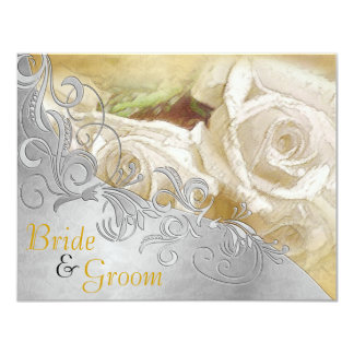 White Roses w/ Silver & Gold - Flat 2 sided Invite
