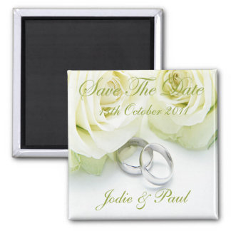 White Roses & Wedding Rings - Save The Date Refrigerator Magnet