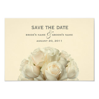 White Roses Wedding Save The Date 9 Cm X 13 Cm Invitation Card