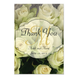 "White Roses Wedding Suite Blush Champagne 3.5"" X 5"" Invitation Card"