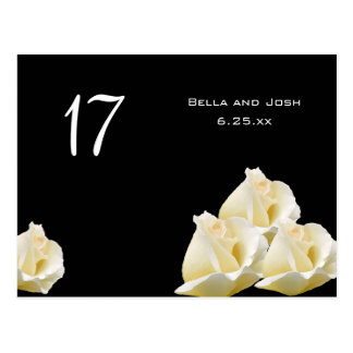 White Roses Wedding Table Card Postcard
