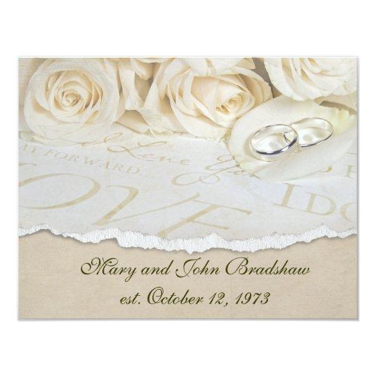 White Roses Wedding Vow Renewal Card
