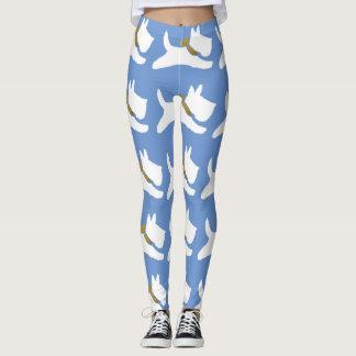 White Running Scotties Your Background Color Leggings