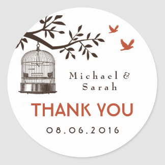 White Rustic and Vintage Bird Cage Wedding Sticker