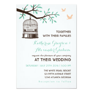 White Rustic Bird Cage and Dove Wedding Invitation