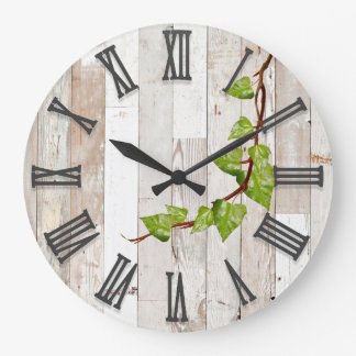 white rustic fence and ivy wall clock