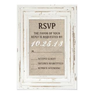 White Rustic Frame Burlap RSVP Card