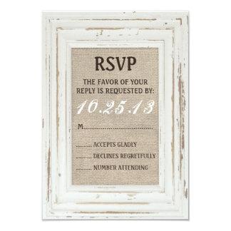 White Rustic Frame & Burlap RSVP Card Invitation