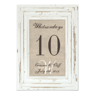 White Rustic Frame & Burlap Table Number For Gemma