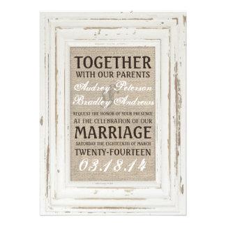 White Rustic Frame Burlap Wedding Invitation