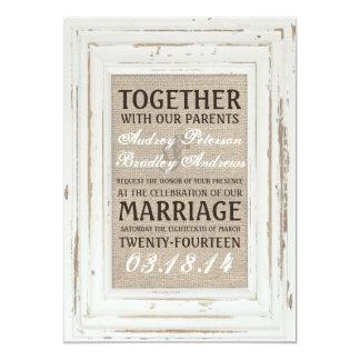 White Rustic Frame & Burlap Wedding Invitation