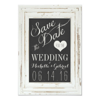 White Rustic Frame Chalk Typography Save the Date Card