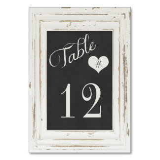 White Rustic Frame Chalk Typography Table Number Table Card