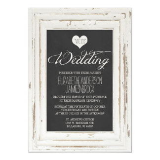 White Rustic Frame Chalk Wedding Invitation