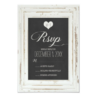 "White Rustic Frame Chalk Wedding RSVP Card 3.5"" X 5"" Invitation Card"
