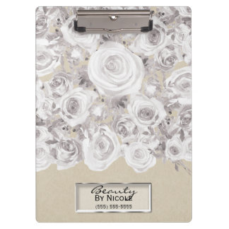 White Rustic Winter Roses Shabby Chic Kraft Clipboard