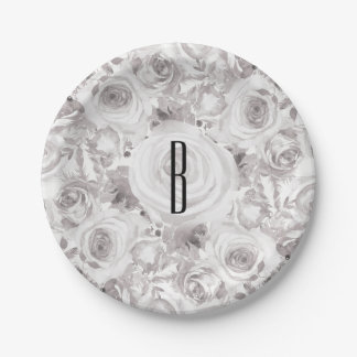 White Rustic Winter Roses Wedding Elegant Paper Plate