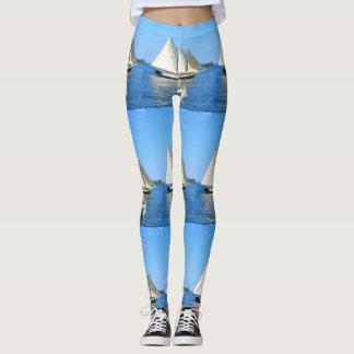 white sail schooner dual blue leggings