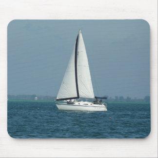 White sailboat mousepad