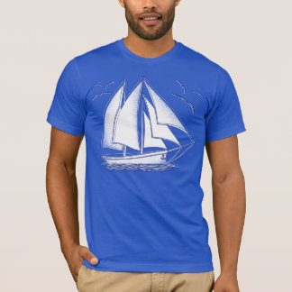 White sailboat nautical sailing sailor T-Shirt