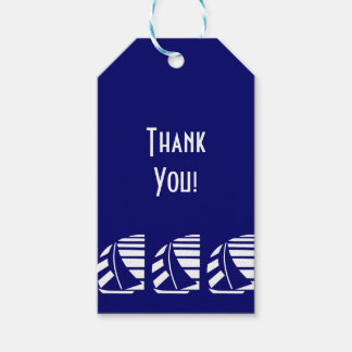White Sailboats on Blue Custom Thank You Tag