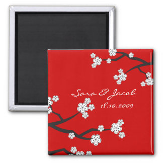 White Sakura Cherry Blossoms Save The Date Magnet