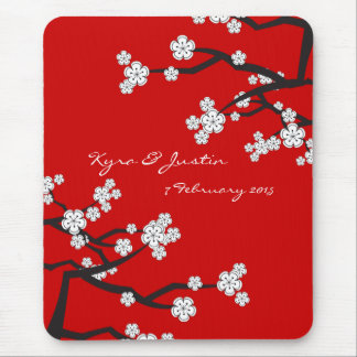 White Sakuras Flower Custom Favor / Gift Mousepad