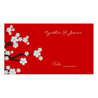 White Sakuras Flower Custom Table Place Card Business Card Template