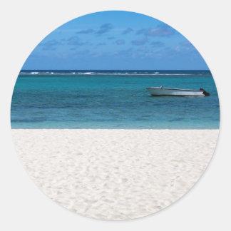 White sand beach of Flic en Flac Mauritius overloo Classic Round Sticker