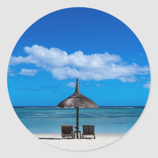 White sand beach of Flic en Flac Mauritius overloo Classic Round Sticker