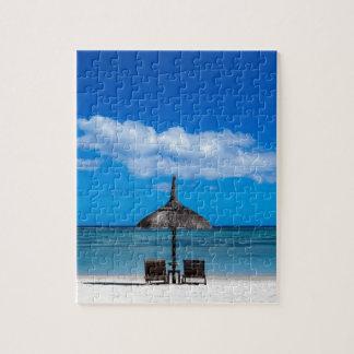 White sand beach of Flic en Flac Mauritius overloo Jigsaw Puzzle