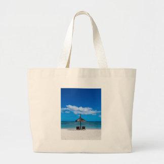 White sand beach of Flic en Flac Mauritius overloo Large Tote Bag