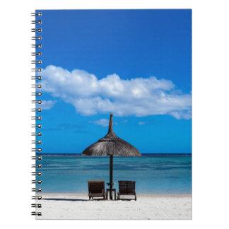 White sand beach of Flic en Flac Mauritius overloo Notebook