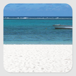 White sand beach of Flic en Flac Mauritius overloo Square Sticker