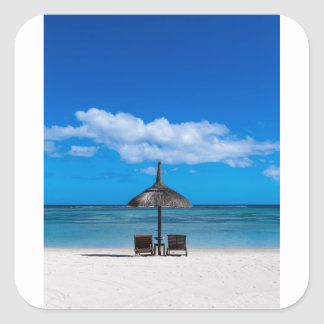White sand beach of Flic en Flac Mauritius overloo Square Sticker