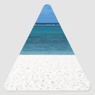 White sand beach of Flic en Flac Mauritius overloo Triangle Sticker