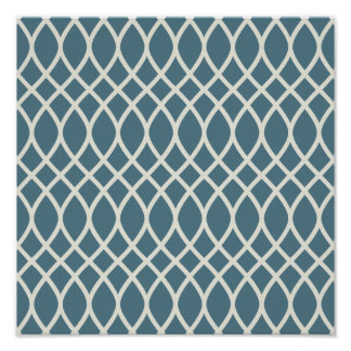 White Sand Deep Ocean Blue Geometric Poster