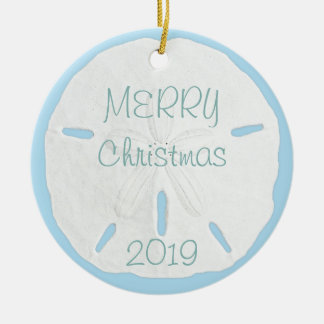 White Sand Dollar on Blue Tropical Christmas Ceramic Ornament